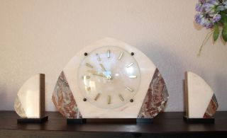 Art Deco Marble Clock With Matching Bookends photo