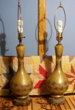 Wilmar Co.  Antique Rare Handpainted Pair Of Tablelamps Working Near Mint Cond. photo