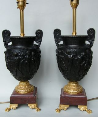 Pair Ormolu And Bronze Electric Table Lamps Mid 19th Century. photo