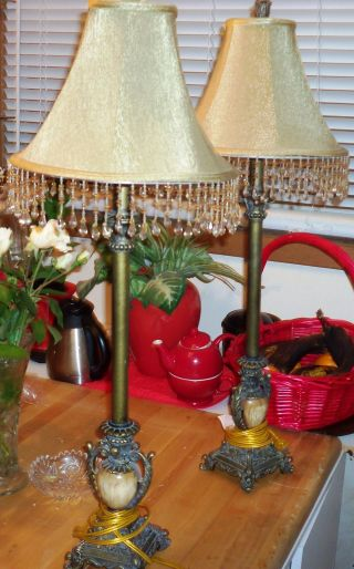 Pair Of Gorgeous Marble & Metal Lamps & Shades photo