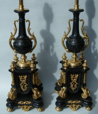 Pair French Ormolu Bronze Table Lamps 19th Ct. photo