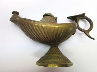 Great Antique Ornate Brass Aladdin Vintage Oil Kerosine Lamp Patina photo