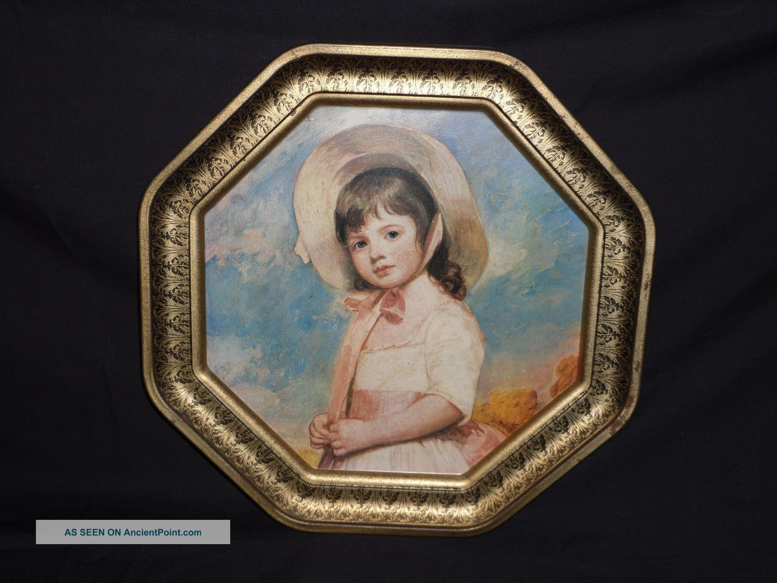 Antique Embossed Picture Of Little Girl Peach Dress On Metal Wall Hanging Metalware photo