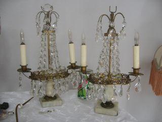 Vintage French Marble Girandoles Crystal Lamp Pair Bouidoir Parts Repair Lot photo