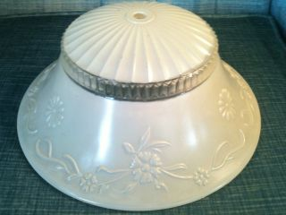 Art Deco Embossed Floral Design Ivory Satin Glass Ceiling Light Shade photo