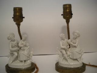 Antique Early 1920 ' S - 1940 ' S Porcelain & Brass Figurine Pair Of Lamps photo