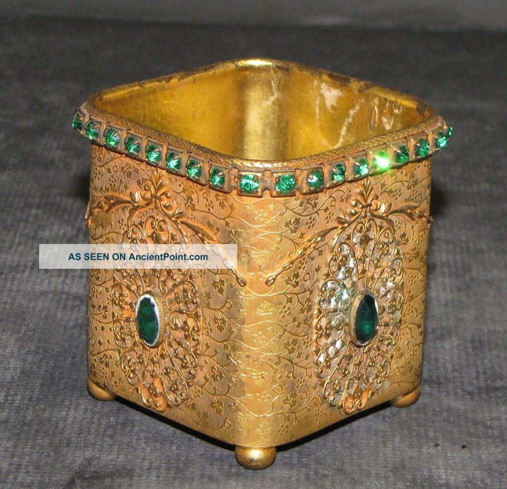 E.  & J.  B.  Empire Art Gold Trinket Box With Green Stones Metalware photo