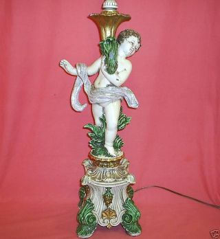 Large Vintage Enameled Metal Cherub Putti French Lamp photo