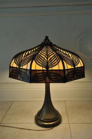 Handel Peacock Overlay Table Lamp 22 Inch Shade photo
