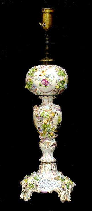 Antique German Carl Thieme Dresden Porcelain Floral Scenic Table Lamp Works photo