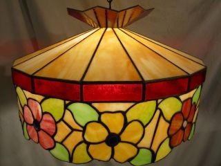 Antique Tiffany Style Slag Glass Lamp - Signed & Numbered photo