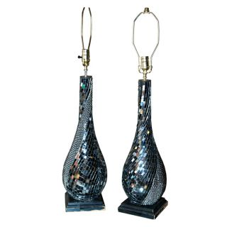 Pair Of Mirrored Micro - Mosaic Table Lamps photo