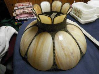 Antique Off White/beige Ornate Marbled Slag Dragenfly Glass Lamp/lighting Shade photo
