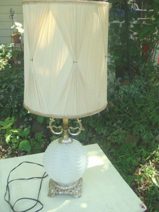 Vintage Frosted Globe Table Lamp Fancy Pleated Curtain Shade 10 photo