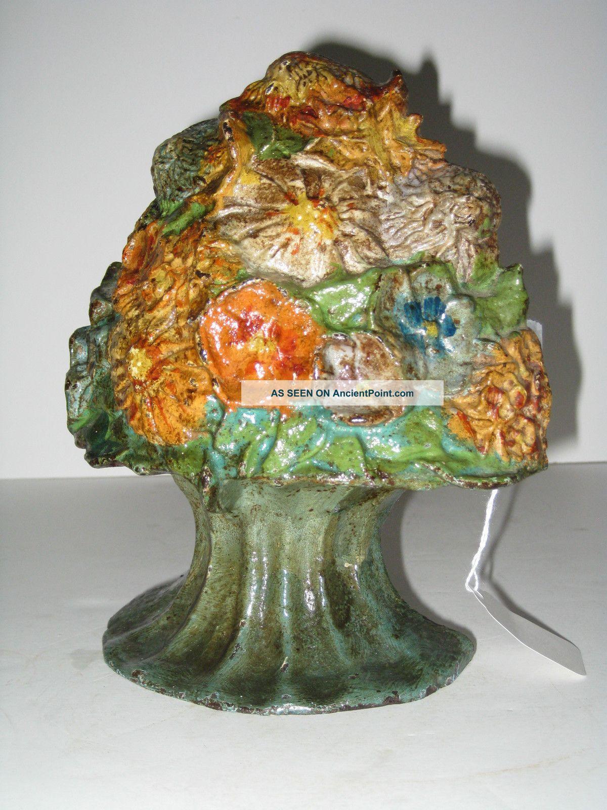 Antique Urn Of Flowers Cast Iron Doorstop National Foundry C: 1920 Metalware photo
