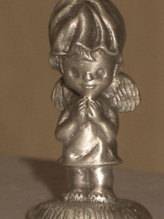 Dated 1975 Little Gallery Hallmark Pewter Figurine Winged Angel Prays Miniature photo
