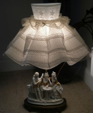 Antique 1920 ' S - 1940 ' S Porcelain & Brass Victorian Style Figurine Lamp photo