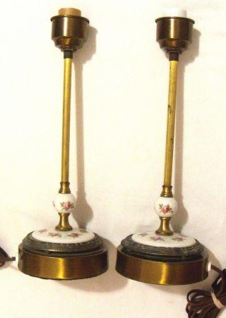 Antique Porcelain Brass Rose Candlestick Lamps Pair photo