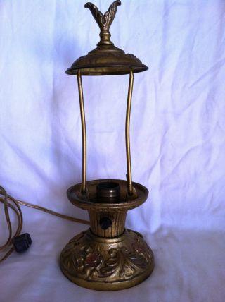 Antique Cast Iron Enamel Boudoir Table Electric Lamp Light Leviton photo