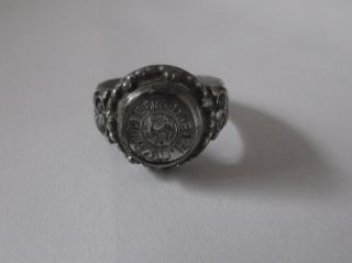 Uncleaned Medieval Serbian Silver Knights/crusader Ring With Stylized Griffin photo