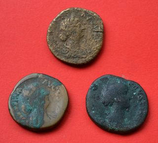 Group Of Three Roman Sestertii.  Excellent Quality Lot Coins photo