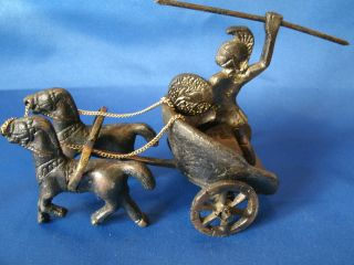 Antique Roman Bronze Warrior On A 2 Horse Drawn Chariot.  Moving Parts.  12 Photos photo