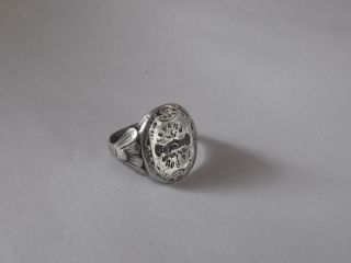 Renaissance Poesy/betrothal Silver Ring With Mani In Fede
