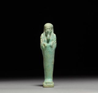 Authentic Ancient Egyptian Faience Shabti / Ushabti Statue Figure - 664 B.  C. photo
