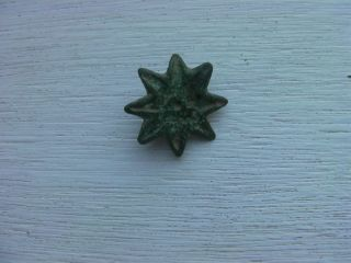 Roman Bronze Star Belt Stud,  Intact - Uk Detector Find photo