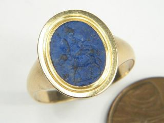 Antique 18k Gold Lapis Lazuli Ancient Roman Intaglio Seal Ring C1780 Minerva photo