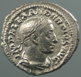 Alexander Severus,  Denar,  Silver,  Spes,  Flower,  Rome,  231 - 235 A.  D. photo