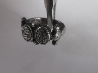 Uncleaned Byzantine Amulet Gnostic Abraxas Silver Ring photo