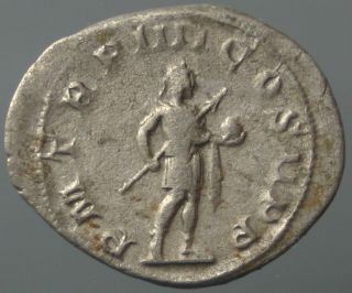 Gordianus Iii,  Antoninian,  Silver,  Emperor,  Spear,  Globe,  240 - 244 A.  D. photo