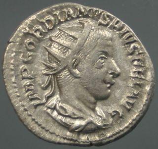 Gordianus Iii Pius,  Silver,  Jupiter,  Iovi Statori,  Minted Rome,  241 - 243 A.  D. photo