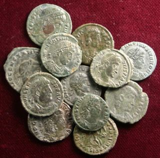 Bulk - Lot: 12 Cleaned And Well Preserved Late Roman Coins,  Different Rulers photo