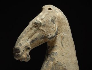 Ancient Chinese Pottery Horse Head Sculpture - Antique - Han Dynasty photo