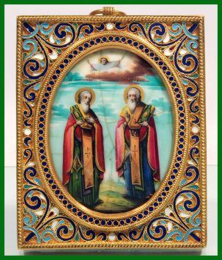 Rare Russia Orthodox Painted Icon Saint Martyrs Antipii And Vlasius.  1890.  Year photo