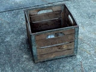 Antique Pet Dairy Milk Crate Wooden With Steel Bands @ Vintage Advertising photo