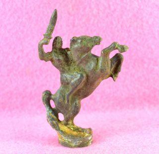 Roman Bronze Figurine Of Horse And Rider photo