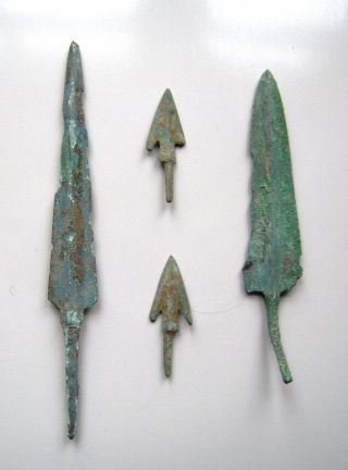2 Bronze Spearheads & 2 Arrowheads.  Ref.  392. photo