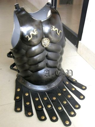 Black Roman Muscle Armor Cuirass With Dragon Collectible Roman Armory Costume photo