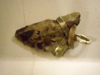 Sliver Mounted Grey Coloured Flint Arrowhead Made For Charm (elf Shot) photo