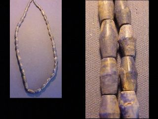 String Of Roman Lapis Lazuli Bicone Beads Circa 100 - 400 A.  D. photo