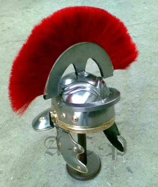 Roman Centurion Armor Helmet W/red Plume Collectible Roman Armory Prop Larp Gift photo