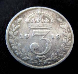 Solid Silver Threepence 1919 Coin Antique Ii Vintage English Old World War I Uk photo