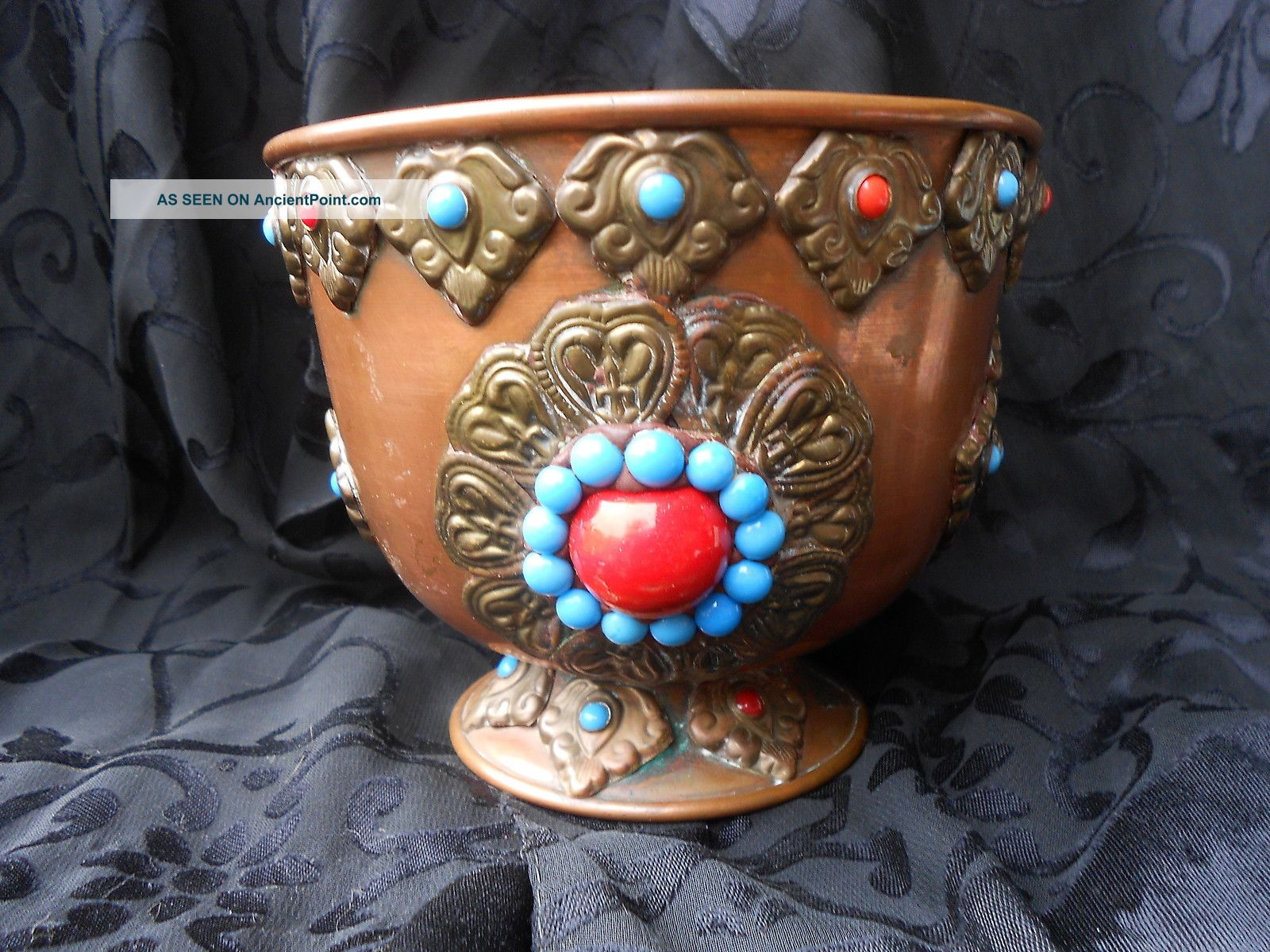 Antique Middle Eastern Heavy Jeweled Brass Cartouches Over Copper Footed Pot Near Eastern photo