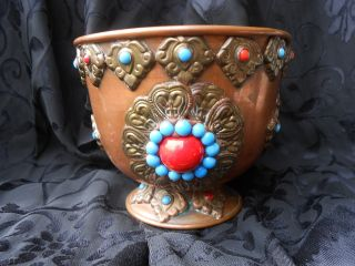 Antique Middle Eastern Heavy Jeweled Brass Cartouches Over Copper Footed Pot photo