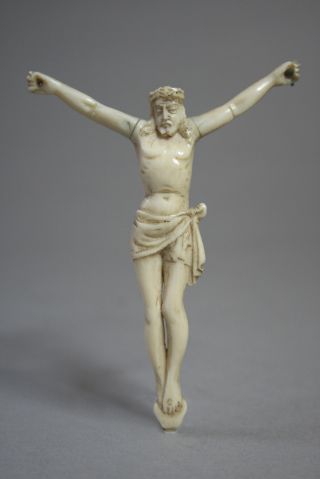 Antique Early Faux Ivory Carved Bone Crucifix Mid 1800 ' S - Fine Quality Dieppe photo