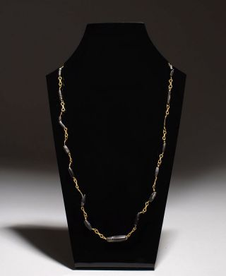 Authentic Ancient Late Hellenistic Early Roman Gold & Black Bead Necklace - 50 Bc photo