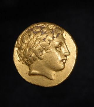 Ancient Greek Gold Stater Coin Of Kinf Philip Ii Of Macedon Father Of Alexander photo